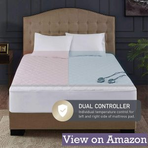Quilted Cotton Heated Mattress Pad Queen Dual Control